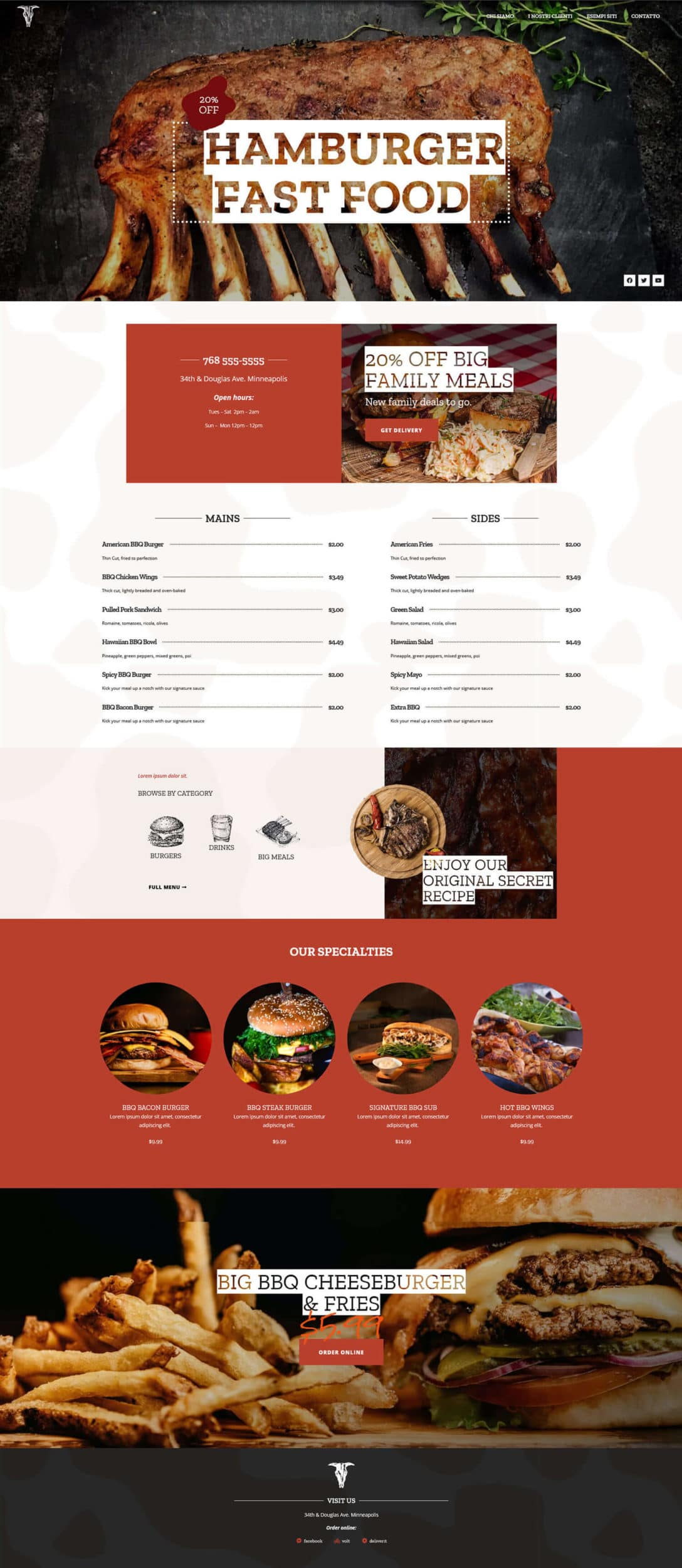 Sito web Fast Food Hamburger